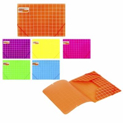 Папка на резинках пластиковая А4 400мкм Square, матовая, цвета ассорти