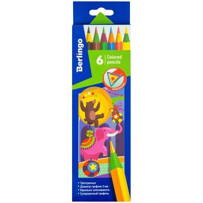 Карандаши 6цв Цирк пластиковые, трехгранные, заточенные, картон, европодвес