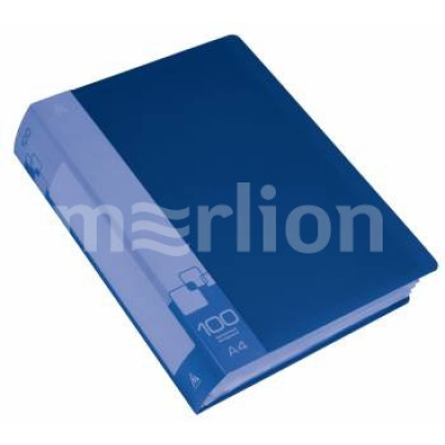 Папка 100 файлов A4 синий пластик 0. 8мм торц. карм с бум. встав синий