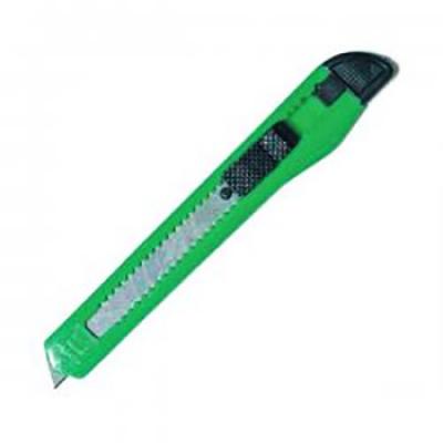 Нож канцелярский 9мм малый, цветной (ассорти) пластиковый держатель, ручной фиксатор длины лезвия