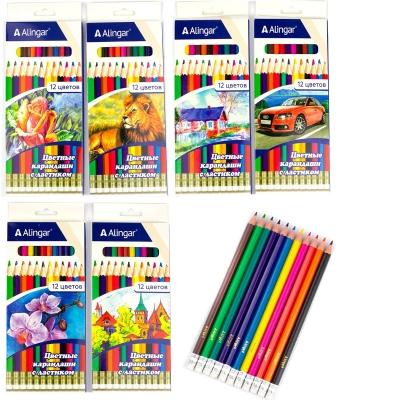 Карандаши 12цв Joy-2, пластиковые, шестигранные, заточенные, ластик, картон. упак.