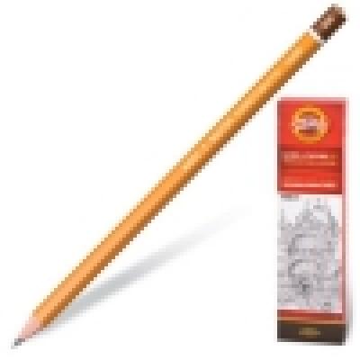Карандаш ч/г 9H шестигранный, деревянный, цвет корпуса - желтый, заточенный, картонная упаковка