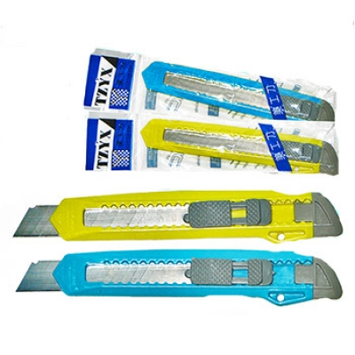 Нож канцелярский 18мм большой, цветной пластиковый держатель, ручной фиксатор длины лезвия (ассорти)