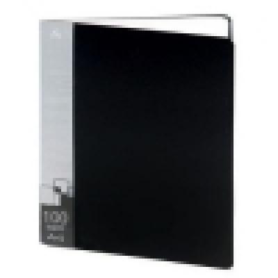 Папка 100 файлов А4 чёрный пластик 0, 7мм торцевой карман с бумажной вставкой