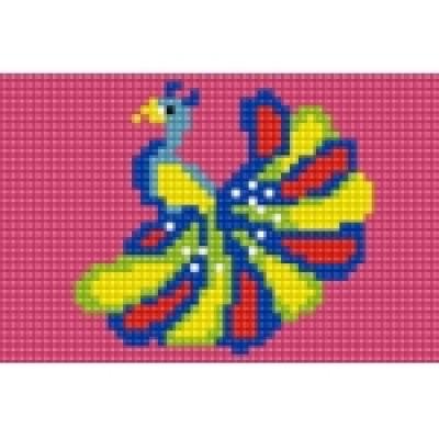 Алмазная мозаика (блестящая) 10х15 см, с подрамником, с полным заполнением (8 цв. ) ПАВЛИН (AS1006)