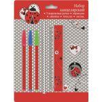 Канцелярский набор в блистере БОЖЬЯ КОРОВКА (3 шариковые ручки (красная, зелёная, синяя) , 1 ластик д