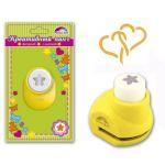 Панч-дырокол кнопочный СЕРДЦА 10 мм (размер рисунка 10 мм, размер панча 33х26х32 мм, желтый + белый