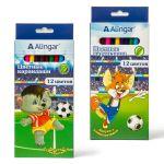Карандаши 12цв Веселый футбол, деревянные, шестигранные, заточенные, карт. упак. , европодвес