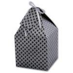 Коробка подарочная ФАКТУРА НА СЕРОМ (13x13х13, плотн. -300 г/м2, серый крафт, тисн. серебр. фольгой,
