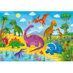 Пазл листовой на подложке. Динозавры. 20х28, 5 см, 24 детали. Пазл в рамке