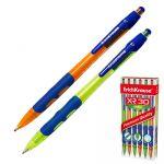 Ручка шариковая автоматическая синяя 1, 0мм резиновый рифленый держатель, цветной прозрачный пластико