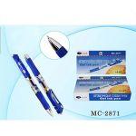 Ручка гелевая автоматическа синяя 0, 5мм резиновый держатель, металлический наконечник, прозрачный к