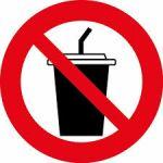 Наклейка Запрещено с напитками (106х106)