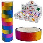 Декоративная клейкая лента d=4, 4см разноцветная с блестками, 10шт в упаковке