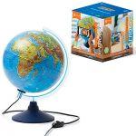 Глобус 250мм Земли интерактивный, физико-политический с подсветкой, питание от сети 220в, длина шнур
