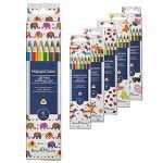 Карандаши 6цв Happycolor, трехгранные, деревянные, картонная упаковка, европодвес, 6 видов