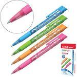 Ручка шариковая автоматическая синяя 0, 35мм Vivo Spring, резиновый держатель, цветной корпус, 4 диза