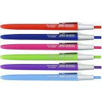 Ручка шариковая автоматическая синяя 0, 7мм корпус цветной ассорти с серебристым клипом ассорти