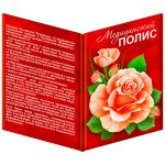 Обложка для медицинского полиса- Нежная роза, 160*220мм, ПВХ, с вкладышем, без отделки