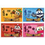 Альбом для рисования А4 12л. Robot trains (ассорти) , на скобе, обложка- мелованный картон, блестки,