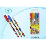 Набор гелевых ручек 6цв 1, 0мм Зверюшки цветной прозрачный корпус, цвет колпачка соответствует цвету