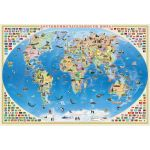 Карта наст. Мир для детей. Достопримечательности мира (101х69) ламинированная