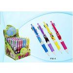 Ручка шариковая автоматическая в дисплее 4-цветная, Фрукты, непрозрачный пластиковый корпус
