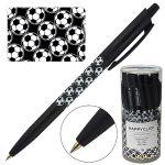 Ручка шариковая автоматическая синяя 0, 5мм HappyClick Футбол , цвет корпуса - чёрный с рисунком, пла