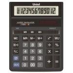 Калькулятор UNIEL (12 разрядов) бухгалтерский, двойное питание, чёрный