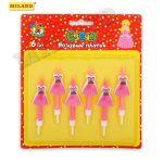 Свечи для торта Розовые платья 6шт с подставками