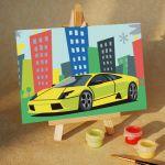 Картина по номерам Спортивный автомобиль 10х15, холст, набор кистей, акриловые краски ma228